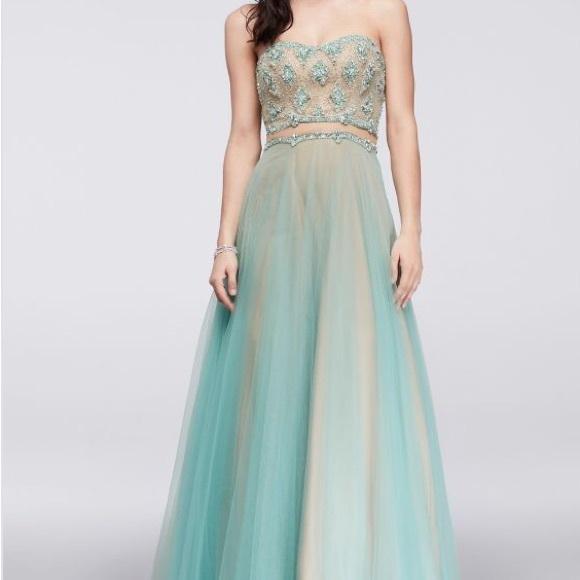 David\'s Bridal Dresses | Aqua Bluegreen Illusion Ball Gown Prom ...